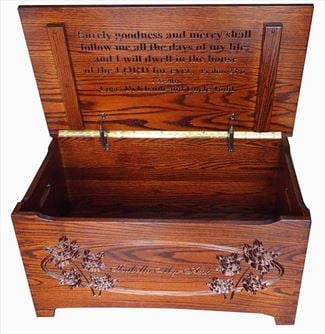 Amish Oak Hardwood Handmade Furniture Shaker Large Dovetail Toy Box Chest Deluxe Two Safety Hinges Verse and Name