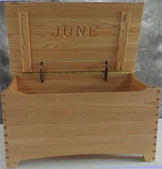 Amish Wooden Toy Box-OAK-Large-Shaker-dovetail-Safety hinges