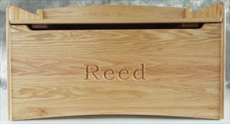 Amish Hardwood OAK Handmade Bench Toy box Solid Oak Natural Finish Name Chest Two Safety Hinges