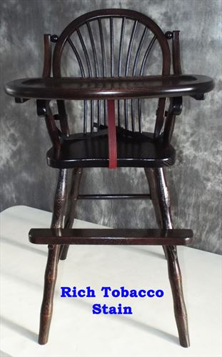Amish Chairs-Amish High Chairs-Bow Sheaf-Oak-Dark RICH TOBACCO Stain