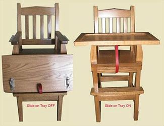 Baby Furniture-High Chair-wood-Amish-Mission-Slide on Tray !