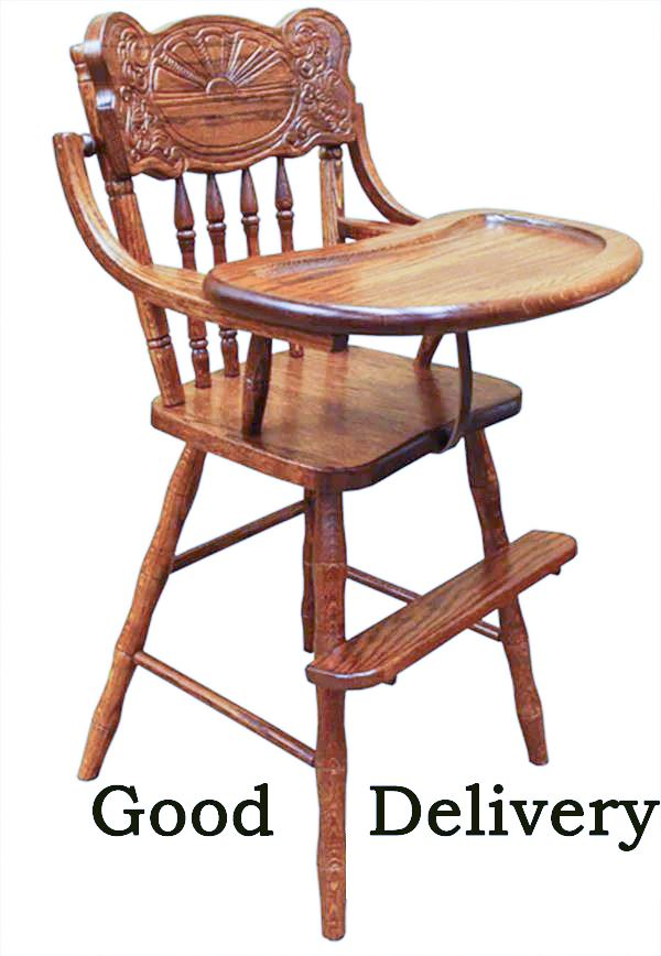 Baby Furniture Wood High Chair Amish Sunrise Back