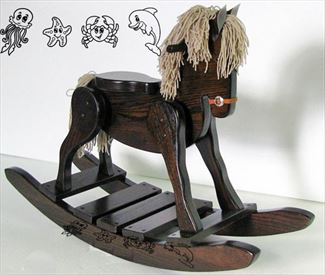 Wooden Onyx Rocking Horse-Hand Crafted wooden rocking animal Amish Carved Runner