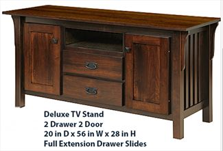 Amish Mission TV Stand 56 inch Hardwood Two Each Drawers & Doors