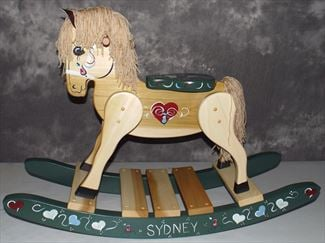 Wooden Rocking Horse-Hand Personalized Crafted wooden rocking animal Amish-Green Runners with Hearts-Hand Painted