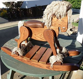 Amish Wooden OAK Hardwood Padded Seat Draft Belgian Percheron Rocking Horse-Hand Crafted wooden rocking animal