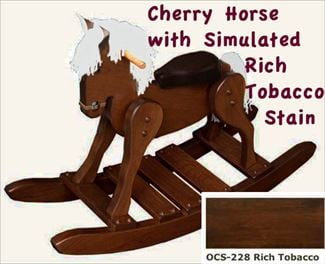 Amish Wooden Cherry Rich Tobacco Stain Hardwood Padded Seat Rocking Horse-Hand Crafted wooden rocking animal- #10