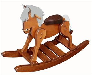 Wooden Cherry Hardwood Padded Seat Rocking Horse-Hand Made Amish- #10
