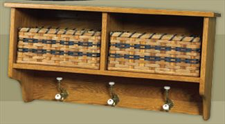 Amish Oak Furniture Two Basket and Three Hook Coat Shelf .
