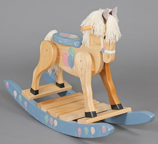 Painted Blue Balloons Rocking Horse-Hand Made Poplar Rocking Horse-DELIVERY IS INCLUDED
