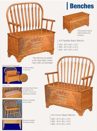Love Never Fails Hope Chest Hall Bench Feather or Arrow Back, Ohio Amish Oak Furniture Deep Storage