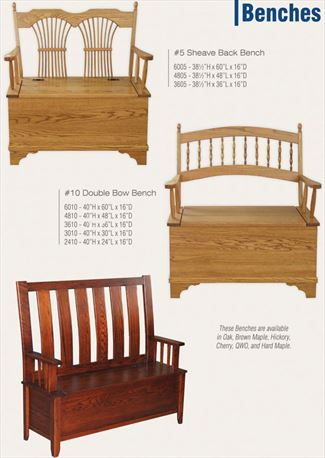 Deacon Hall Bench Sheaf or Bow or Galveston Ohio Amish Oak Furniture Deep Storage