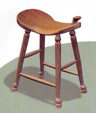 Amish Western Saddle Stool Amish Furniture Oak or QSWoak or Cherry or Hard Maple or Hickory Swivel Saddle Stool