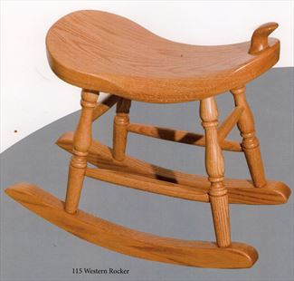 Amish Rodeo Saddle Stool Rocker Amish Furniture Oak or Cherry or Hard Maple or Hickory Swivel Saddle Stool