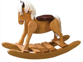 Wooden Rocking Horse Padded Seat-Hand Made Amish- #10