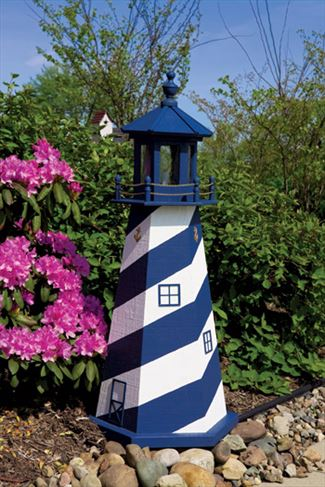 Amish OUTDOOR LIGHTHOUSE 18 in to 5 Foot Handcrafted Cape Hatteras-White-Navy Wood Painted