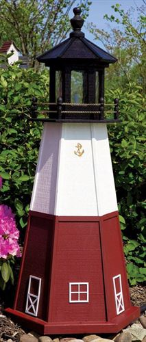 Amish OUTDOOR LIGHTHOUSE 18 inch to Five Foot Handcrafted VERMILLION Wood Painted