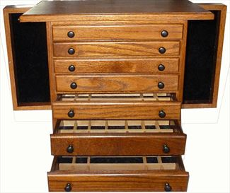 Jewelry Chests, Amish Jewelry Boxes, 7 Drawer 2 Sides OAK