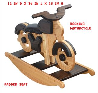 Amish Wooden Riding MotorCycle Rocking OAK Two Tone Stained Hardwood Padded Seat Motorcycle-Hand Crafted wooden rocking toy