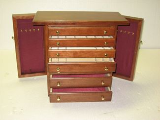Jewelry Chests, Amish Jewelry Boxes, 7 Drawer 2 Sides Cherry