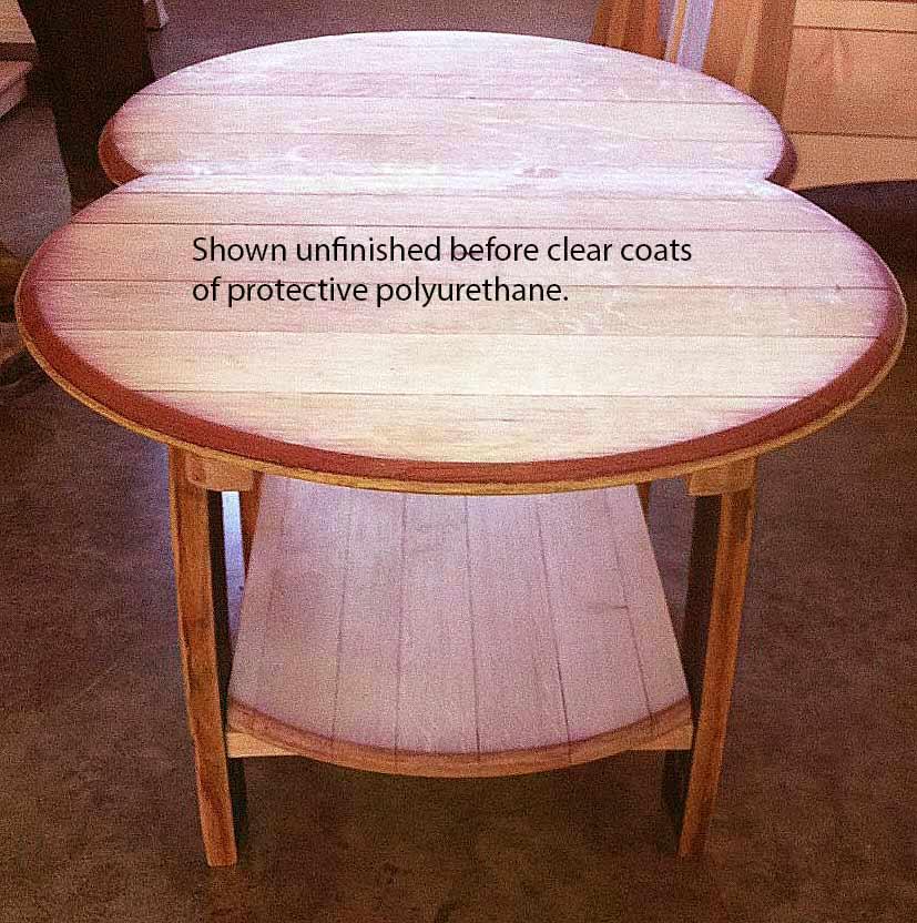 Amish Wine Barrel Head Recycled Quarter Sawn White Oak Coffee Table With  Shelf Hardwood