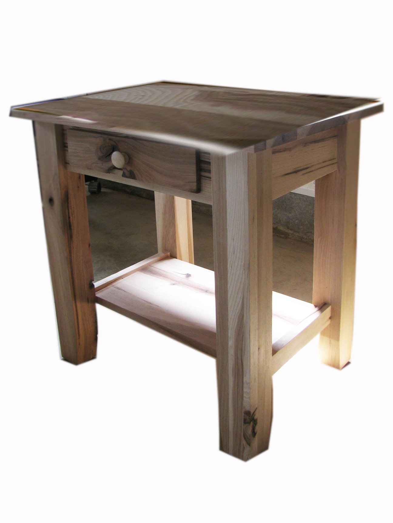 Amish SHAKER Leg End Table With Drawer Rustic Hickory Hardwood
