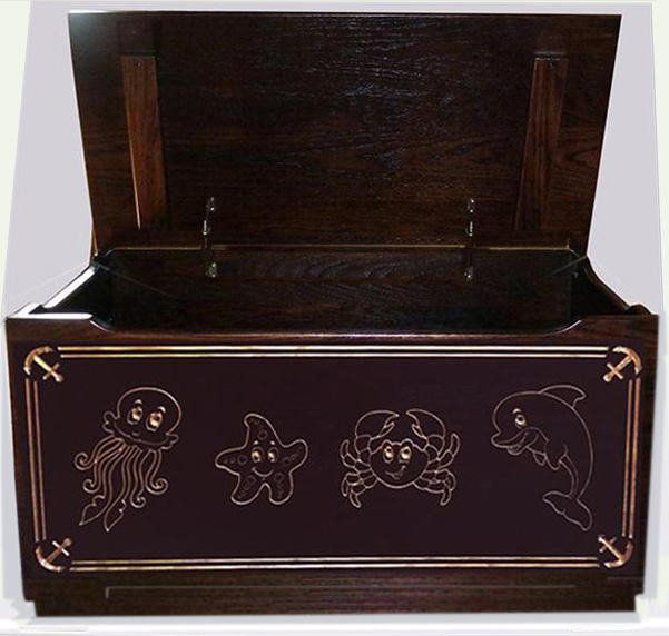 Amish Hand Made Nautical Sea Creatures Flat Top Toy Box
