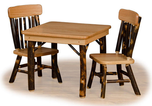 Amish Childs Oak Hardwood Hickory Table U0026 Two Childs Hickory Chairs