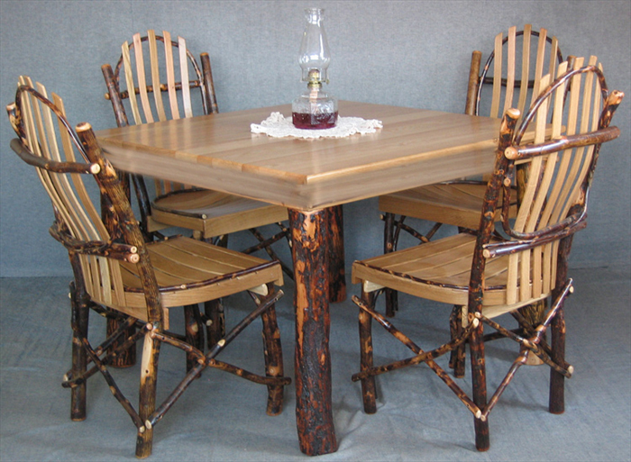 Awesome Amish Furniture Hickory Dining Room Table And Four Chairs Group