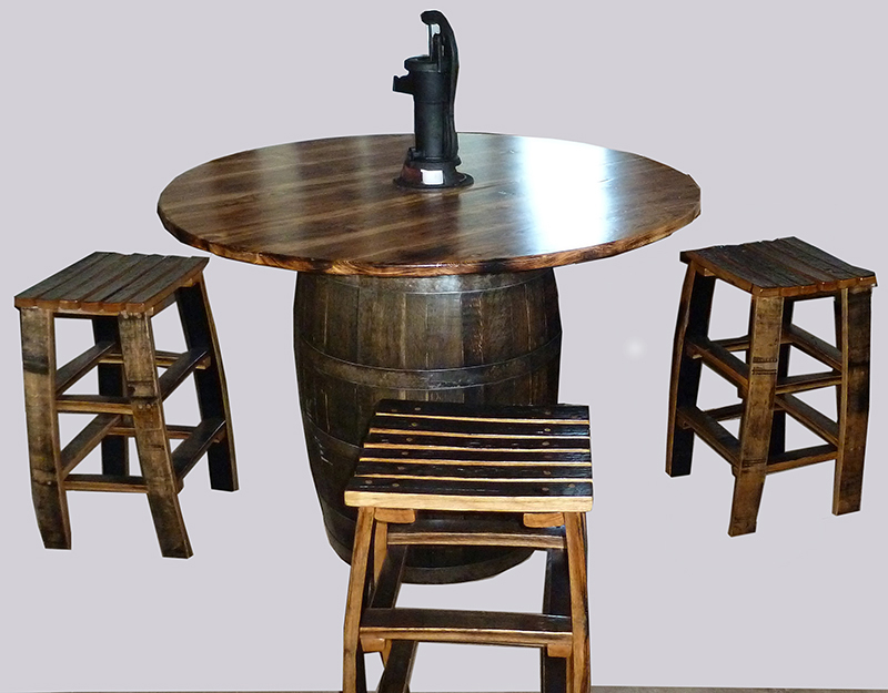 amish dining table character rustic hickory barrel style with four stools of genuine oak barrel staves