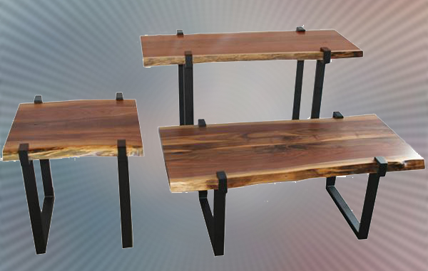 Amish Reclaimed Solid Amish Reclaimed Walnut Live Edge Slab End - Metal base picnic table