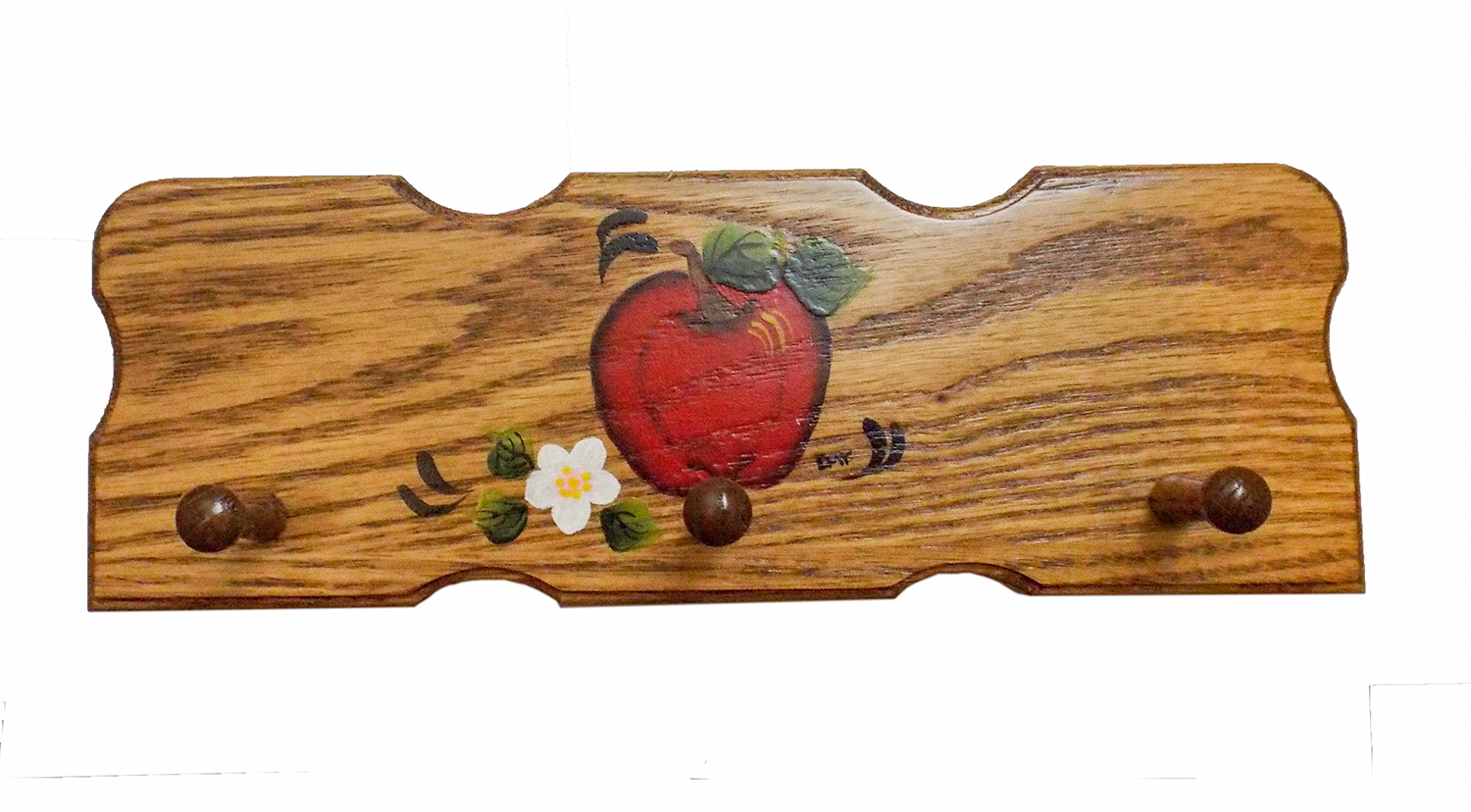 Famous This Amish Rural Country Three Hook Hand Painted APPLE KEY Rack  CZ73