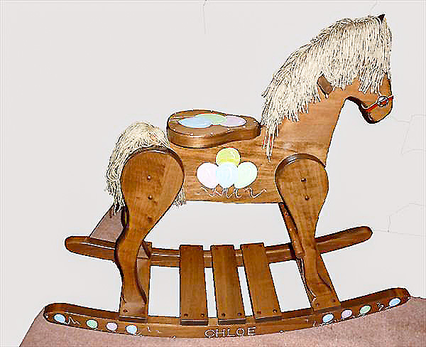 Wooden rocking horse hand made amish large 30 for Hand crafted rocking horse