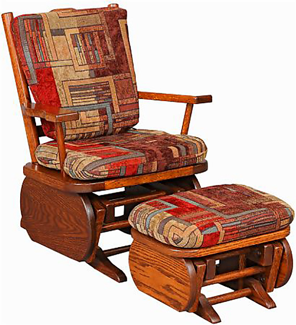 Amish Child Glider Rocker Oak And Cherry Hardwood Gliders Upholstered  Ottoman. Click To See Larger Preview