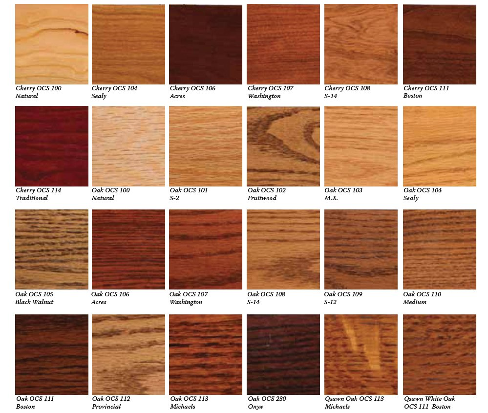Ocs stains for oak and cherry and brown maple for Types of wood used for cabinets