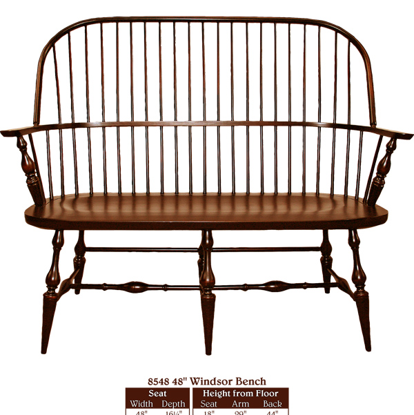 This Amish New England Style Bench Furniture Oak With Lumbar Support And Arms Chair