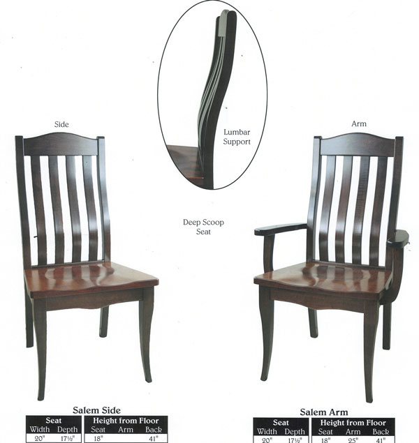 This Amish Dining Chair Furniture Oak Lumbar Support Back