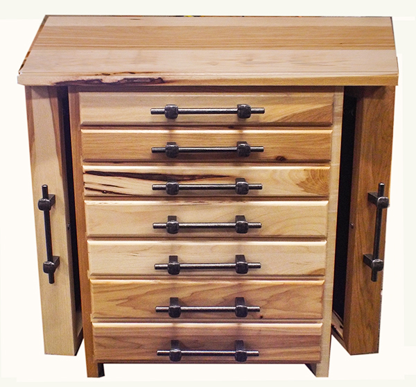 This wonderful hardwood HICKORY jewelry Box chest has 7 drawers 4