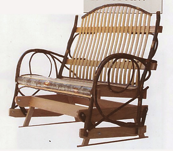 Amish Furniture Double Hickory Glider With Oak Or Hickory Or Cherry