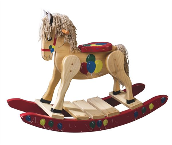 Wooden Rocking Horse-Hand Crafted wooden rocking animal Amish-Red with Balloons-Hand Painted