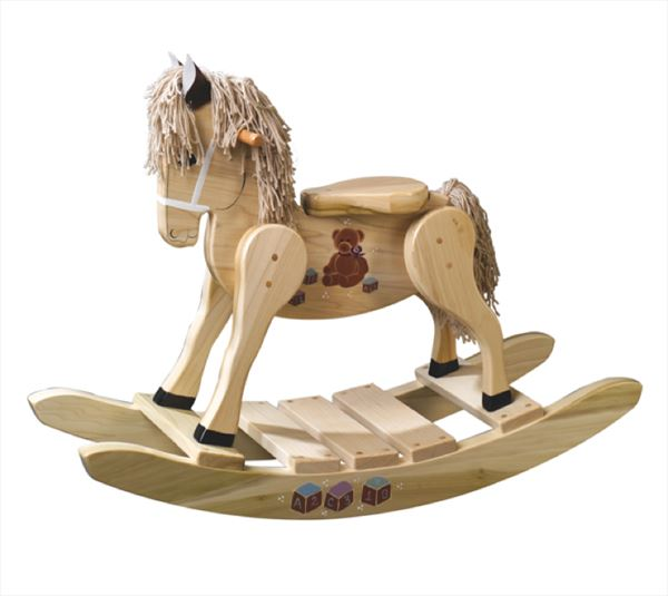 Wooden Rocking Horse-Hand Crafted wooden rocking animal Amish-Teddy Bear Theme-Hand Painted
