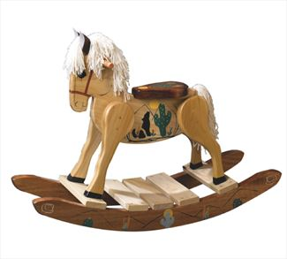 Wooden Rocking Horse-Hand Crafted wooden rocking animal Amish-Southwestern Theme, Hand Painted