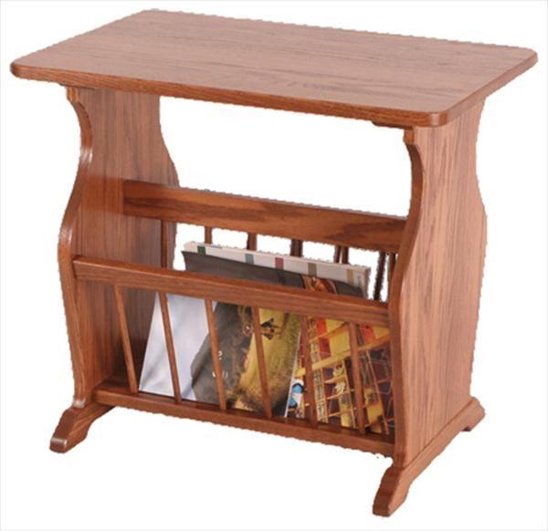 Amish Wooden Magazine Floor Rack - Oak -