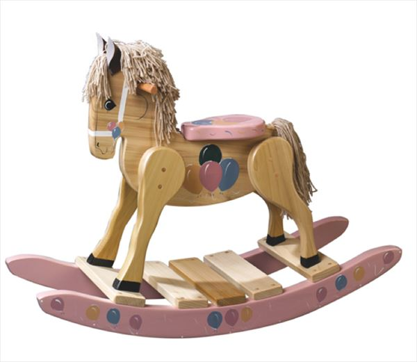 Painted Pink Balloons Rocking Horse-Hand Made Poplar Rocking Horse