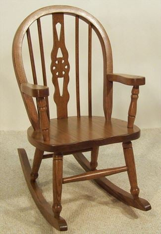 Amish Kids Furniture Rocking Chair, Oak Windsor Back