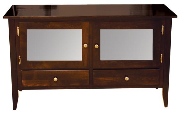 Amish Manhattan TV Stand 50 inch Hardwood Two Each Drawers & 2 Doors