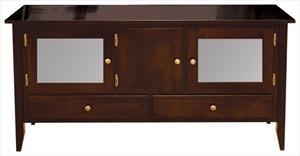 Amish Manhattan TV Stand 60 inch Hardwood Two Each Drawers & 3 Doors