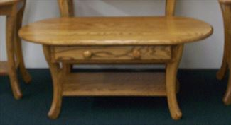 CURVED LEG End, Coffee or Sofa Table Amish Oak or Cherry Table & Hardwoods