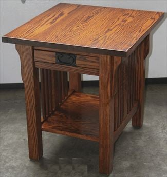 Mission End Table Amish Rectangle Oak or Cherry Table & Hardwoods