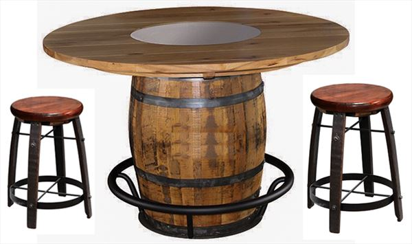 New 48 or 56 inch QSWO Barrel Table with QSWO Top - TWO CHAIRS SHOWN